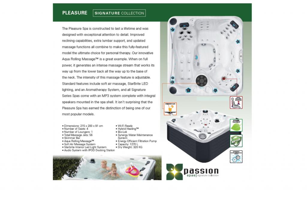 pleasure hot tub brochure page