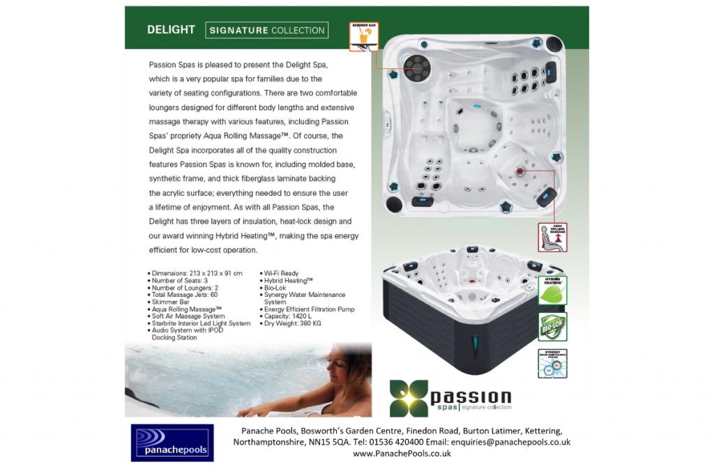 delight hot tub brochure page